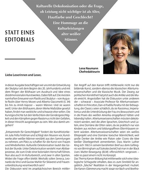 Statt eines Editorials, Lena Naumann, Mundus 3/21
